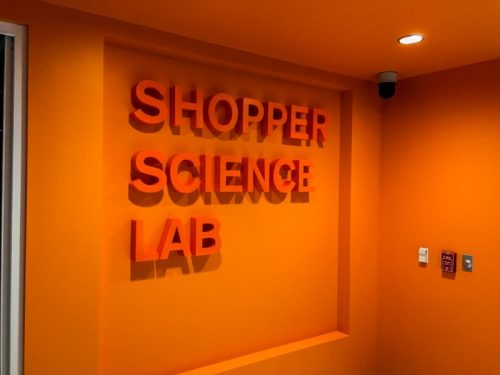 painted bright orange gatorfoam letters for interior lobby wall