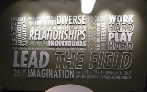 thick painted white gatorfoam letters on inspirational feature wall for office break room