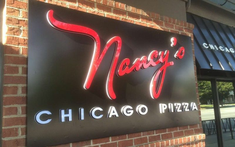 Illuminated Acrylic Letters mounted on Panel for pizza restaurant outside