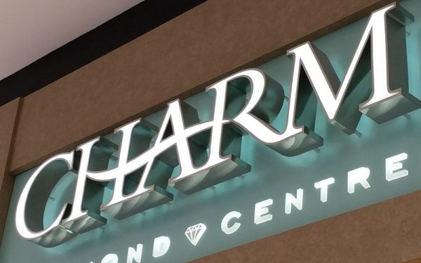 front lit channel letters with bright white LEDs with chrome edges for mall sign