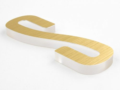 metal laminate in brushed brass on frosted clear acrylic