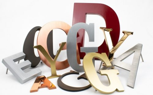 metal letter options in painted cast aluminum, brushed copper and bronze
