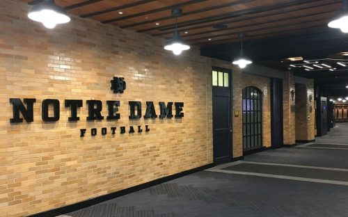 thick fabricated letters in painted glossy blue for notre dame university athletics