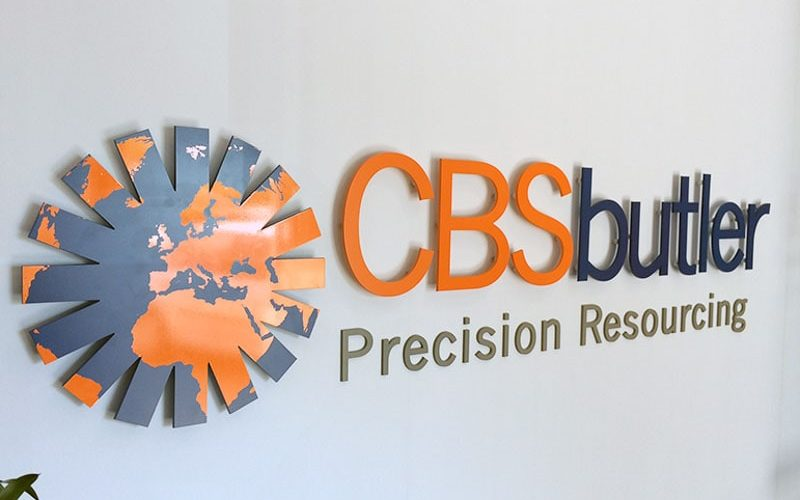 painted matte orange purple acrylic logo letters inside lobby sign river cbs