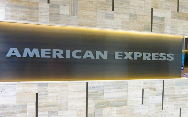 painted metallic silver acrylic letters flush mounted for american express lobby sign