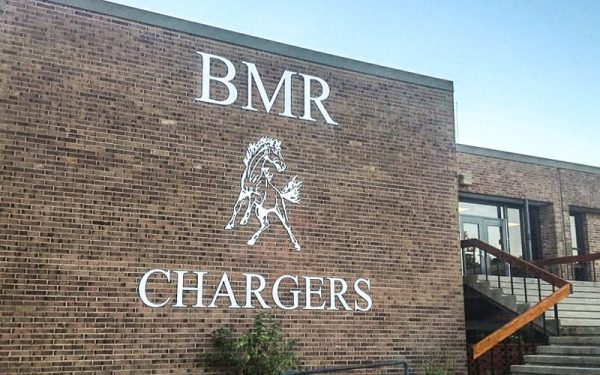 painted metallic silver acrylic logo & letters for BMR mutangs high school outside brick