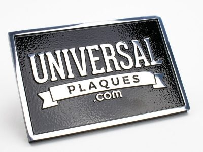 Polished Aluminum Plaque with Black Background with raised text