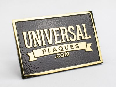 Polished Brass Plaque with Duranodic Bronze Background with rasied text