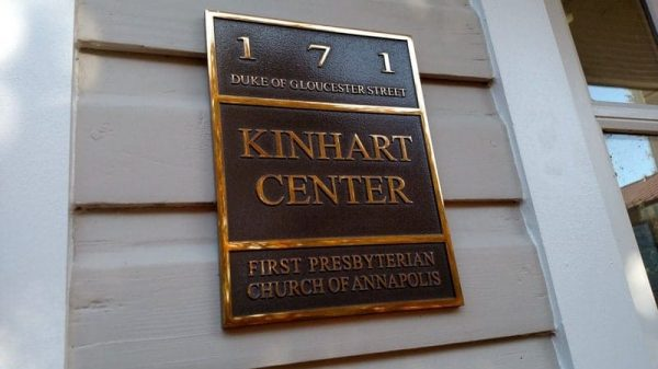 shiny mirror polished cast bronze plaque for church outside building