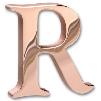 Flat cut mirror Polished Copper letter