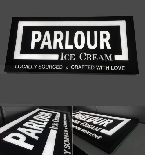 Push Through Acrylic Illuminated Sign in Painted Black with White Push Through Acrylic for ice cream store