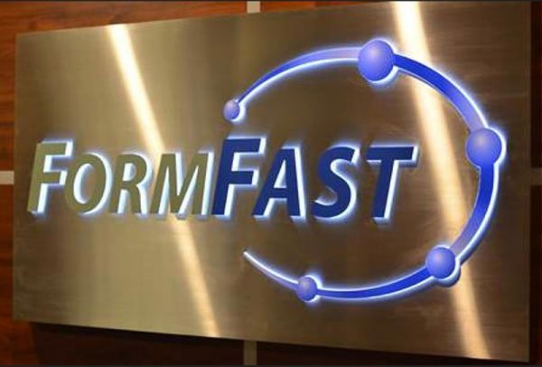 Push Through Acrylic Illuminated Sign in Brushed Stainless Steel with Custom Vinyl Graphics for inside lobby office wall