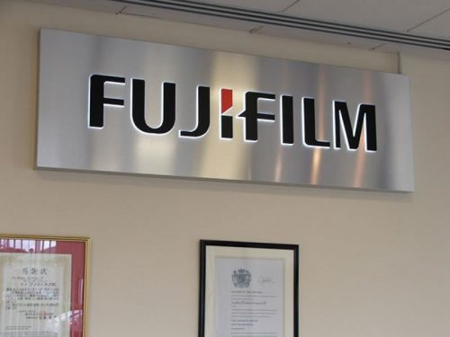 Push Through Acrylic Illuminated Sign in Brushed Stainless Steel with Black & Red Vinyl for fujifilm office lobby