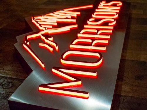 Push Through Acrylic Illuminated Sign in Brushed Stainless Steel with Red LEDs for restaurant