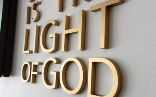 thick painted metallic gold acrylic letters flush mounted for church